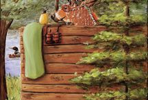 Cabin Art Prints / Rustic Cabin Decor Idea. Moose, Bear & Fish Cabin Art for your cabin kitchen. Deer themed cabin art for your bathroom. Fine Art Giclee's (reproductions of original art by Debbie Cerone) sold on Etsy.
