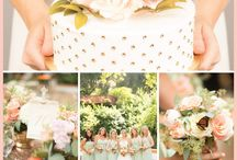 Mint, gold, ivory, peach wed