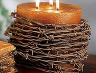 Candle, barb wire.