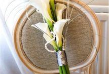 FLOWERS - BOUQUET BRIDE & BMAIDS, PINS, CORSAGES