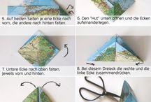 Papiertüte aus alten Landkarten