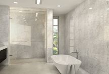 """Stone look tile / This collection of tiles resemble natural stone like carrara, travertine and cement. This material is a 1/4"""" thick and can be placed on tops of existing materials."""