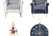 Estilo Navy / Estilo de decoración basada en el estilo marinero. Un soplo de aire fresco con colores marinos, blancos y rojos sobre lino y algodón.