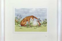 Anita Jeram / Anita is best known as an illustrator of children's storybooks, particularly the modern classic Guess How much I Love You, written by Sam McBratney. You might have read that book - I believe it's quite famous. Writing and illustrating picture books is a great job to have, but that's not all Anita does. She just can't stop drawing, and not all pictures fit neatly into books do they?   We have some of Anitas work available to buy in our shop or online www.canvasart.co.uk