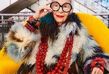 Iris Apfel / Fashionicon, eigenwijs, kleurrijk, exentriek en gewoon een heerlijk mens  .