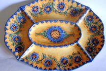 Piatto antipastiera ovale in ceramica dipinta a mano. Decoro Floris, by ilciliegio