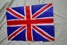 England flag art / England flag painted with .... a sponge :)