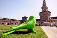 "#CrackingArt | Castello Sforzesco, Milano / April 10 – June 30, 2014 | Cracking Art installation ""Swallow's nest"" @ Castello Sforzesco, in collaboration with Italia Nostra and Must Gallery, Milan (Italy)"