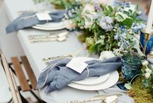 Dusty Blue Wedding Theme Inspiration / The perfect Jasmine Bridal bridesmaid dresses to go with your dusty blue wedding color theme.