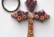 mosaic cross key chains