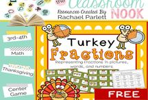 Thanksgiving / Thanksgiving classroom resources...turkey fractions, author's purpose pie and more!