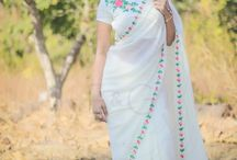 Creamery Pure Silk-Chiffon Ribbon Embroidered Saree / PRICE INR 7,461/-; US$ 113.00 To buy click here https://www.eastandgrace.com/products/creamery-saree Featuring the Creamery pure silk-chiffon cream colored saree with delicate red and apricot floral embroidery and green leaves hand-crafted with ribbonwork all along the saree border. The blended raw silk blouse has floral embroidery on a shoulder that beautifully complements the saree. Reach us: care@eastandgrace.com