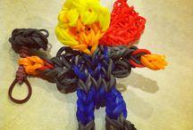 Rainbow loom creations by the boys