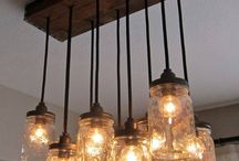mason jar chandelier / Try making this mason jar chandelier & add a little rustic charm into your home! See it here: http://bit.ly/1dIasBk