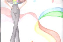 Drawings, watercolor designs. / Drawings aquarelados fashion and observation exercises, follow the line.