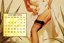 OOPS!!! calendar 2015 / At any moment, she might step out of the painting and say good morning or good night or offer the viewer a cup of coffee, a drink, or an invitation to some not-so-innocent fun. (Gil Elvgren)