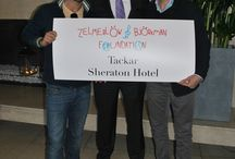 Charity / Måns Zelmerlöv, Sweden's entry to the Eurovision Contest and Jonas Björkman , legendary tennisplayer,  dropped by to thank Sheraton Stockholm for the support of the zbfoundation.se where also you can help children in Africa to get a better life. Here together with GM Lars van der Most
