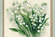 vyšívání kytice, kytky