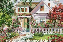 Bucilla 40925 Summer Symphony Kit Victorian House 1994 / Beautiful Country Cottage with Blooming Garden Flowers, Trees and a Picket Fence. Great for a house warming gift or a beautiful wall Picture.