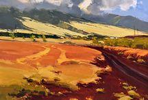 sztuka kolorowe krajobrazy