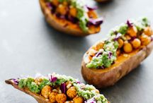 Baked sweet potatoes with chickpea and broccoli pesto