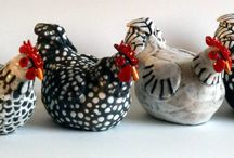 Chickens / A selection of stylised chickens made in Raku