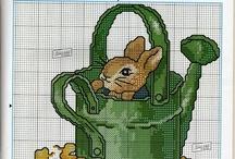 Cross Stitching - kaniner / Kaninbroderier