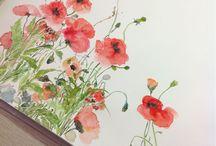 Suluboya çiçekler