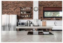 kitchens with exposed bricks and industrial look