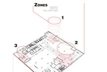 Break / Recess Work Space / A more private space within the office, by virtue of the location.  An ALL THINGS space.