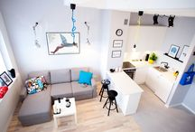 kawalerka Tołstoja 27 m2 / Pracownia plastyczna w wielkiej płycie zaadoptowana na mieszkanie. Powierzchnia 27 m2. Założenia: - kawalera przeznaczona na wynajem, - tanie i łatwo dostępne materiały, - brak elementów wykonanych na zamówienie w celu ograniczenia kosztów, - wykorzystanie wysokości mieszkania. Projekt mieszkania zajął pierwsze miejsce w konkursie dla architektów i projektantów wnętrz w kategorii małe wnętrze http://www.foorni.pl/konkurs,wyniki