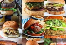 Burgers / Variety of yummy burgers and cheeseburgers.