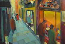 Cuadros de escaparates y boutiques / Cuadros de escaparates y boutiques de moda. Pintura urbana. Window frames and fashion boutiques. Urban painting