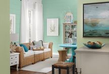 Seaside Blue Beach Home Decor / Decorating ideas for a coatal theme in blue and sand tones: beach house, seaside cottage or vacation home.