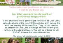 Lilac Lane Contest! Win $50.00! / Win $50.00 to spend at www.lilaclanepatterns.com. Simply upload a photo of a special little girl in your life with the hashtag #LilacLaneGirls. Then Repin the Contest Pin! The winner will be announced on July 4, 2015!  Good luck!