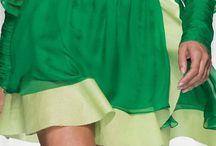 Green Color Lady Fashion