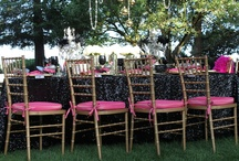 Rocker Glam {So Eventful} / Rocker Glam theme: table decor, sequins, microphones, records, roses, candelabras, hot pink, Patron, rock candy sticks, goldware, gold chargers, black wine glasses, mirrors, feathers, boas, Elvis sunglasses, and much more....