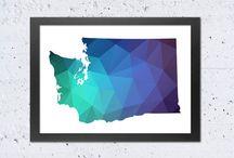 Geometric US states maps