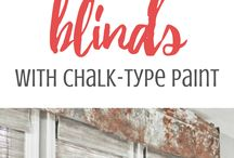 Blinds painted with chalk paint