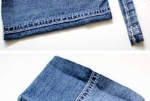 sewing old jeans