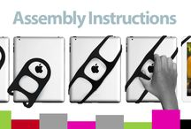 Tablet grips / Handles and grips to hold onto tablets - used correctly these will potentially reduce wrist, thumb and shoulder discomfort in the arm which is holding the tablet