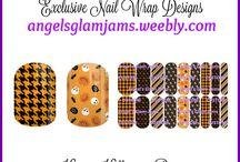 HALLOWEEN NAIL WRAP DESIGNS by Angel's Glam Jams / Halloween Jamberry Nail Wrap Designs by Angel's Glam Jams ORDER HERE: http://angelsglamjams.weebly.com/halloween-exclusive-nail-wraps.html  #halloween #skulls #blackcat #nailwraps #jamberry #nailart #nailwraps #NAS #nailartstudio