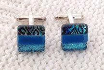 Cufflinks / Fused dichroic glass cufflinks for men and women. Handmade.