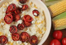 everything edible / grits w corn, cheese, tomatoes