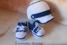 scarpette  baby uncinetto / creazioni per il bebè e ricami preziosi.Tutto eseguito rigorosamente a mano