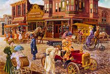Art ~ Days Gone By / Nationally Recognized Artists, best known for charming, beautifully executed paintings of life in Days Gone By.  Artists: Lee Dubin; Tom Antonishak; Susan Brabeau; John P. O'Brien; Jim Daly; Chuck Pinson and many others. / by 🎭Rosemary Brown🎭
