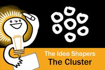 The Idea Shapers: The Cluster / In her 2016 book The Idea Shapers, Brandy Agerbeck makes visual thinking attainable and enjoyable through a set of 24 Idea Shapers. The Cluster is the fourth visual thinking concept in the second step, SORT + GROUP.