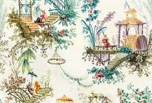 Chinoiserie (fabrics) / Chinoiserie, a fabulous collection of Eastern inspired patterns...  Scenic, Florals, and Ancient Pagodas are jut a few of the ornamental details to be found in this rich Chinoiserie collection of luxury wallpapers and fabrics.