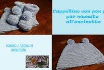 scarpine neonato e cappellino con pon pon all'uncinetto / videotutorial e foto per realizzate un cappellino per neonato all'uncinetto con pon pon e delle scarpine coordinate