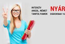 Nyári nyelvtanfolyam diák kedvezménnyel / Nyári szünet ideje alatt minden évben akciósan tanítunk angol és német nyelvet. A marketing kreatívjai kerültek fel ide.